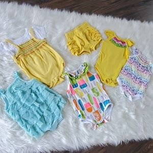 6-9 mo baby girl summer lot yellow rompers sets